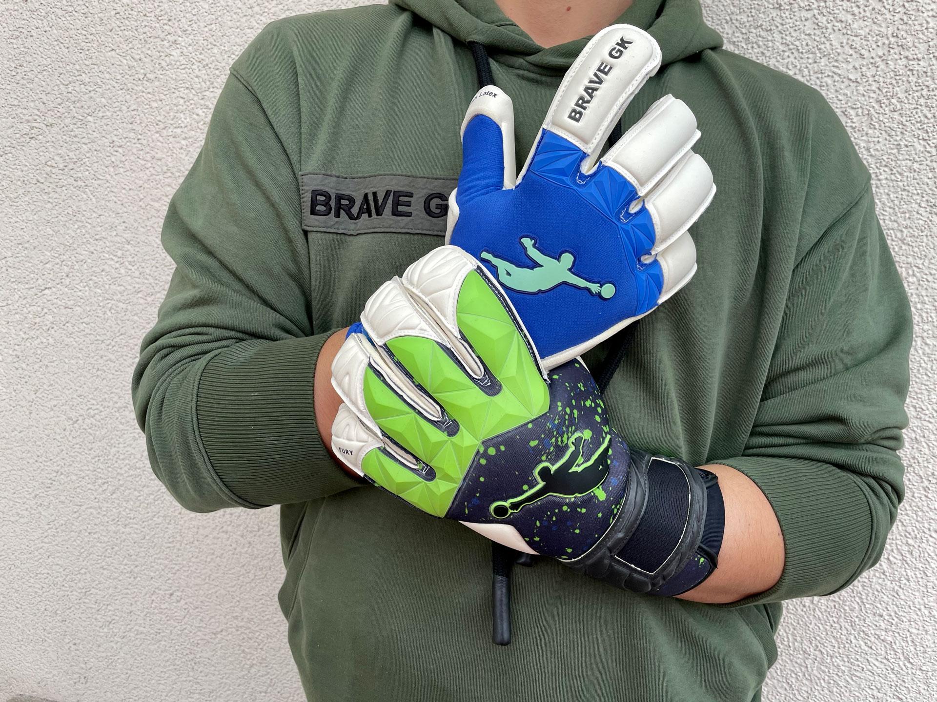 Внешняя сторона воротарських вратарских перчаток Fury 2.0 Green Paint Drops и Unique Blue - официальный интернет-магазин Brave GK